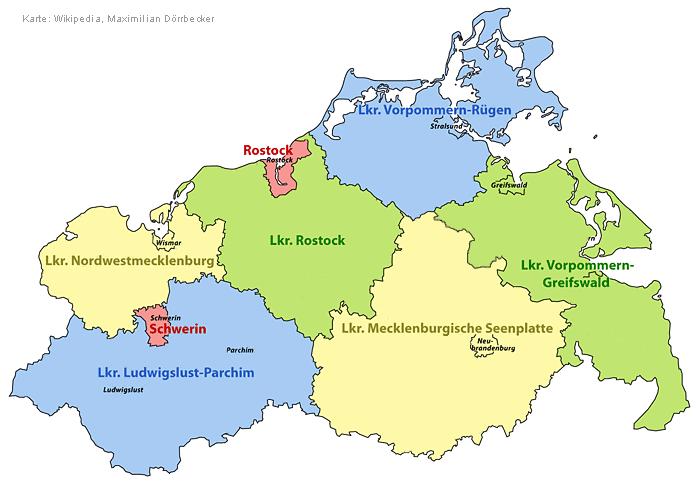 Greifswald Karte.übersicht Landkreise Und Kreisfreie Städte In Mecklenburg Vorpommern